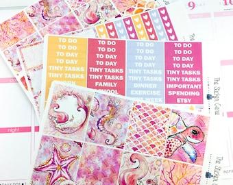 Coral Mermaid Weekly Kit | Planner Stickers, Weekly Kit, Spring Weekly Kit, Mermaid Weekly Kit, Summer Weekly Kit, Vertical Planner Kit,