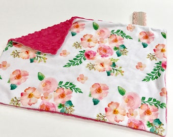 Vintage Floral Peach Pink Baby Girl MINKY Lovey Blanket, MINI Minky Baby Blanket, Taggie Blanket, Baby Bedding, Baby Girl Lovey Blanket
