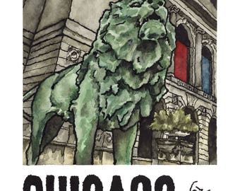 Art Print // CHICAGO ART INSTITUTE - Ink & Watercolor