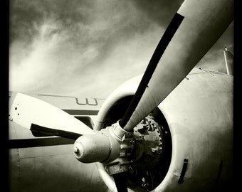 Vintage World War II Airplane Propeller Engine, Aviation, 10x10 Photograph, Vintage Airplane, Aircraft Wing, Airplane Decor