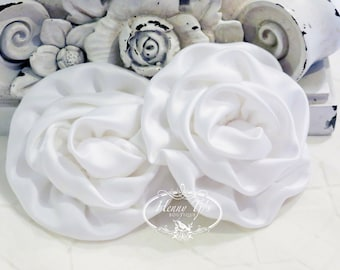 """2 pcs: 3"""" WHITE Adorable Rolled Satin Rose Rosettes Fabric flowers Appliques"""