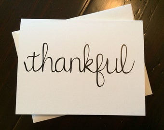 Thankful Card - folded, hand lettered notecard with envelope