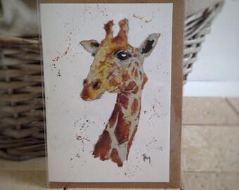 Wild Animal Card, Giraffe Card, Animal Greeting Cards, Blank card, Giraffe, Wildlife Card, Animal Lovers, Animal Cards set, Safari, Africa