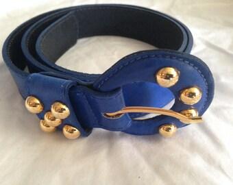 Vintage Blue Leather Belt, 1980's Women's Belt, Blue and gold 1980's Belt, Made in the USA, Doncaster Belt, Size Large