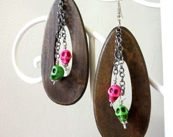 Sugar Skull Earrings Day of the Dead Jewelry Pink Green