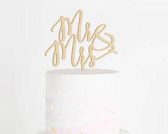 Mr & Mrs Cake Topper, Wedding Cake Topper, Mr and Mrs Cake Topper, Wood Cake Topper, Rustic Cake Topper, Calligraphy Cake Topper