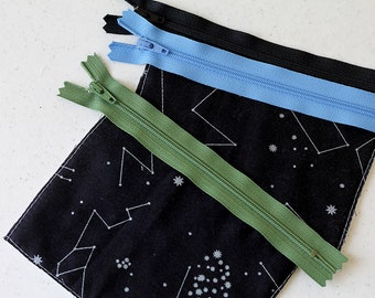 Stars change purse, mini zipper pouch, earbud pouch, business card holder, Night Sky bag, id holder, small bag, coin purse, Constellations