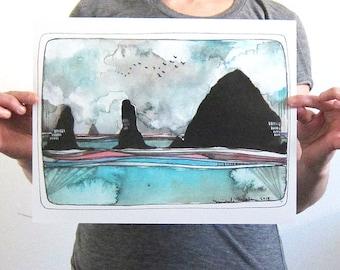 Cannon Beach Print - Cannon Beach Artwork - Haystack Rock Print - Beach Art - Oregon Coast Art - Watercolor Print - Haystack Rock