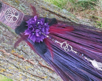 Handfasting broom in turquoise and white wiccan wedding jump purple wedding broom handfasting besom witch broom pagan wedding ceremony wiccan wedding junglespirit Image collections
