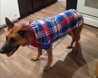 Chicago Cubs Plaid Fleece Dog Coat, MLB Stretchy Dog Sweater