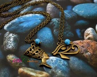Eye of Horus Necklace/Nefertiti Necklace/Nefertiti Bronze necklace/Egyptian necklace