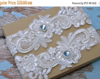 ON SALE Wedding Garter Set,Bridal Garter Set on White Lace, Garter Set with Pearls & Rhinestones,  Something Blue Wedding Garter