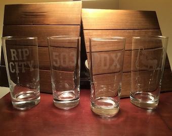 Portland Glasses - Portland - Four Tall Straight Water Glasses -  Oregon - Rip CIty - 503 - Trailblazers - PDX