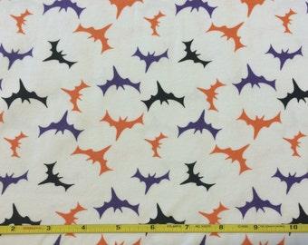 "Halloween Bats on cotton lycra knit fabric 58"" wide"