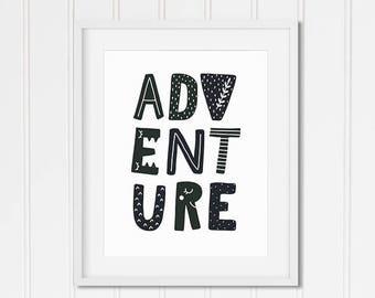 Nursery Print, Children's Room Print, ADVENTURE, Scandanavian, Teepee, Boho, Boys Room, Black and White, Art Print, Digital Download File