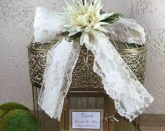 Gold Wedding Birdcage Cardholder / Rustic Wedding Birdcage / Wedding Cardholder