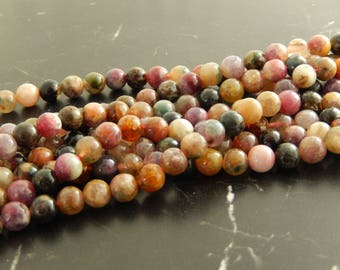 Tourmaline natural 7mm set of 10 beads