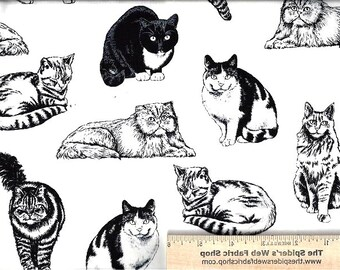 CATS in the HOUSE Fabric - Cat - by Timeless Treasures from 2007 Black & White - Kittens - Novelty - Quilt Shop Quality - 100% Cotton