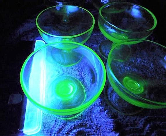 Green Vaseline Depression Glass Footed Cups / Set Five Sherbert / Sherbet / Dessert