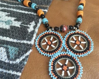 Vintage Navajo Beaded Necklace Native American Seed Beads Hand Made