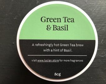 Green Tea & Basil- Travel tin candle 4oz