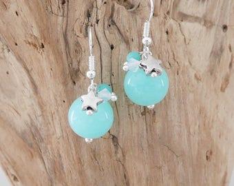 Star earrings aquamarine opal and silver charms (BO151)