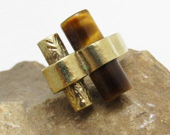 Vintage Modernist Ring Tiger Eye Sterling Studio Jewelry