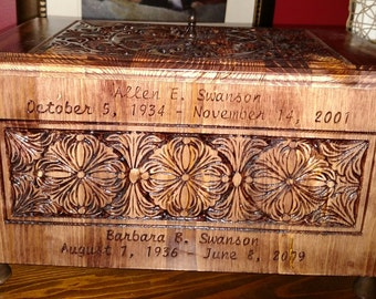 CNC Customized Wooden Urn - Custom Designed with Your Loved Ones Names and Dates