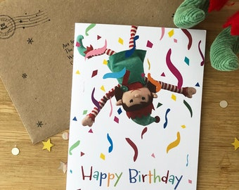 North Pole Personalised Elf Birthday Cards - Girl Elf - 4 designs to choose from