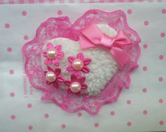 HUGE Puffy Lacey Heart  Applique 1pc Bow and Faux pearl