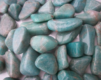 """Amazonite Tumbled Stone 1 - 1.5"""" Sea Salt - Caribbean Blue ~ Square and Chunky Nugget ~ Long and Thin"""