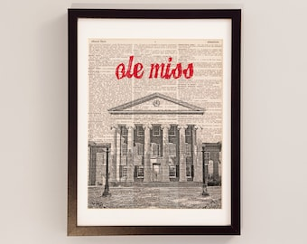 Ole Miss Dictionary Art Print - The Lyceum, Oxford, Mississippi - Vintage Dictionary - University of Mississippi, Ole Miss Rebels Art
