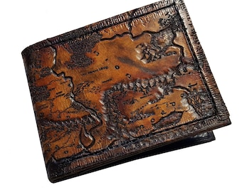 Map of Middle Earth - Leather Bifold Wallet - Handcrafted Wallet -