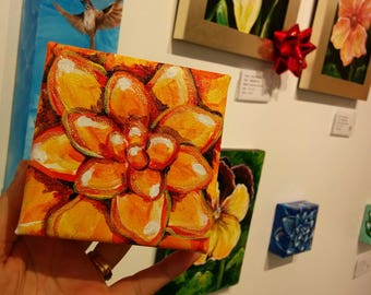Succulent Painting on Canvas, Sparkly, Colorful
