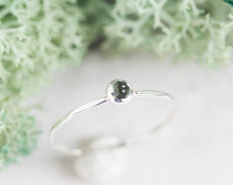 Tiny Green Tourmaline - skinny silver stacking ring with rose cut Tourmaline stone 3mm