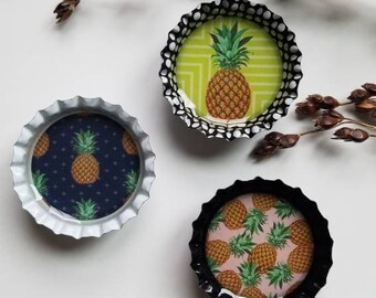 Set of 3 pineapple magnets Bottle cap magnets Pineapple lover Teenager gift Friend birthday Unique gift Kitchen decor Resin magnet Spring