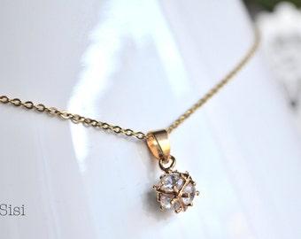 Zirconium ball pendant gold necklace