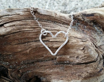 Heart Necklace, Tiny Heart, Sterling Silver Heart. Hammered heart