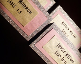 Silver, pink, and cream glittered place cards shown with gatsby inspired font, for parties, wedding, anywhere you are using placecards