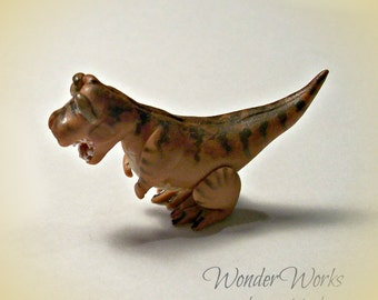 Miniature Tyrannosaurus Rex 1:12 Dollhouse Scale Ridiculous Rex Dinosaur Artisan Sculpted Collectible Tiny Toy