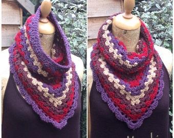 Crochet Cowl Neck Infinity Triangle Scarf