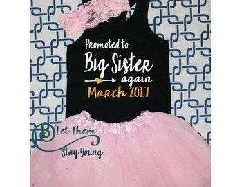 Promoted to Big Sister again Baby Announcement Pregnancy announcement Big Sister Shirt Little Sister Shirt Sibling Shirts Glitter
