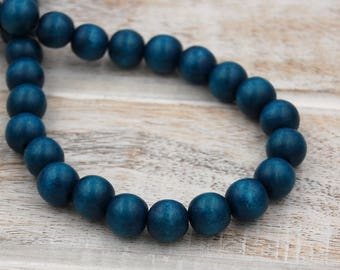 FREE SHIPPING, Teal Blue Wood Round 8mm Boho Beads