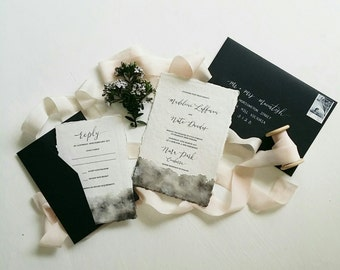Indie Handmade Paper Wedding or Engagement Invitation with Watercolour Wash and Black Envelopes