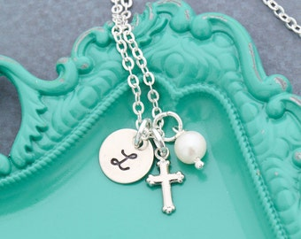 Girls Cross Necklace • Baptism Gift Christening Necklace • First Communion Necklace Little Girl Jewelry • Dainty Cross Necklace Silver Cross