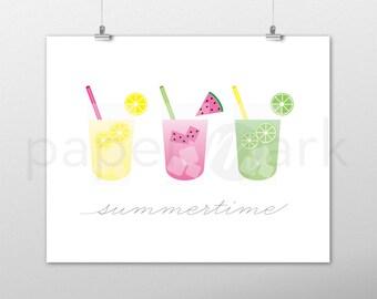 Summer Decor, Home Decor, Kitchen Decor, Summertime, Wall Art, Summer Drinks, Fruit Drink, Lemonade, Drink Art, Summer Cocktail