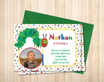 Hungry Caterpillar Birthday Invitiation Digital File