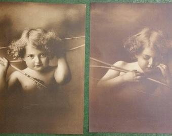 Pair Original Sepia Lithographs Prints CUPID Asleep & AWAKE 13×17 - New Old Stock! copyright MB Parkinson 1897