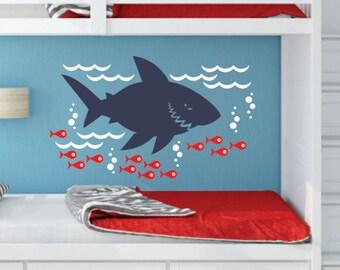 Shark Decal, Shark Wall Sticker, Great White, Ocean Wall Art, Shark And