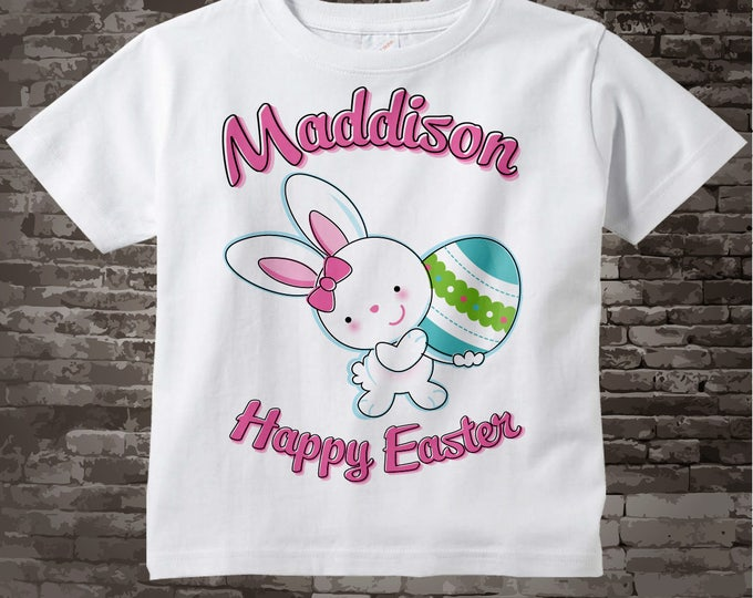 Happy Easter Shirt, Personalized Easter Shirt or Onesie, Easter Bunny and Egg Shirt for Toddlers and Kids 03072012b